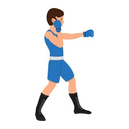 Ilustración de Male boxer cartoon character. Boxing guy vector illustration, sportsman isolated on a white background - Imagen libre de derechos