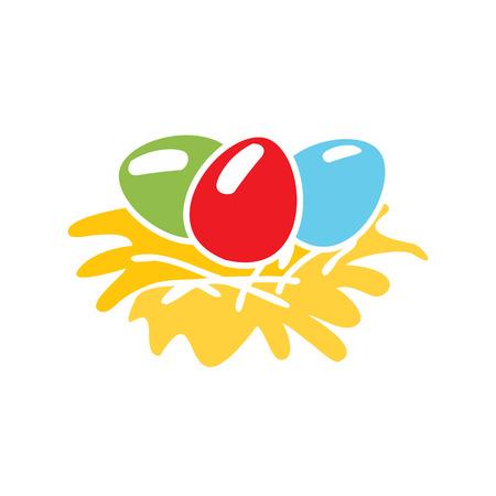 Egg in a nest. Easter. Christian symbol. Easter template. Easter template. Food.  Symbol, icon, isolated pattern stationery. Vintage egg in a nest. Modern illustration with flat lines.