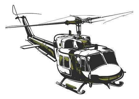 Ilustración de Modern isolated vector illustration helicopter on white background in dark gray and army green colors. - Imagen libre de derechos
