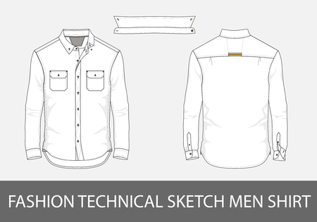 Illustration pour Fashion technical sketch men shirt with long sleeves and patch pockets. - image libre de droit