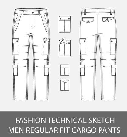 Illustration pour Fashion technical sketch, men regular fit cargo pants with 4 patch pockets. - image libre de droit