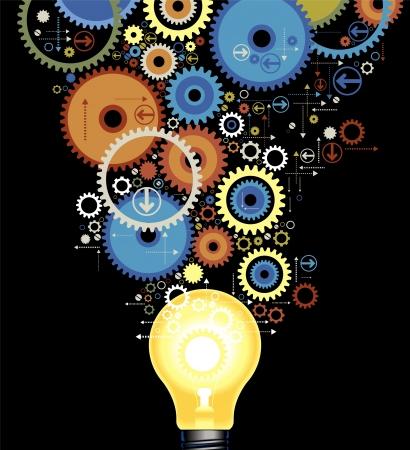 Ilustración de set of color gears out of the luminescent lamps - Imagen libre de derechos