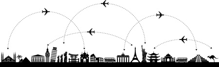 Illustration for Black and white vector background with a trip with icons - Royalty Free Image