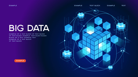 Illustration for People interacting with big data. Data visualization concept. 3d isometric vector illustration. Page template. - Royalty Free Image