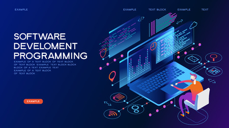 Ilustración de Programming web banner. Best programming languages. Technology process of Software development - Imagen libre de derechos