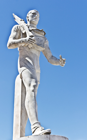 Statue in the Marble Stadium of Rome, Italy