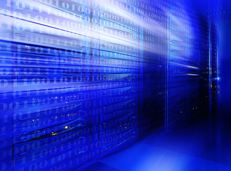Photo pour Abstract Mainframe stack in the server room blue blur - image libre de droit