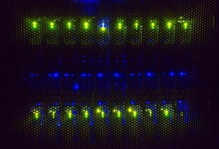 Photo pour light indicators on the mainframe data center in dark - image libre de droit