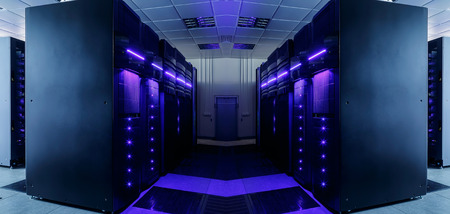 Photo pour symmetrical data center room with futuristic beams and rows equipment - image libre de droit