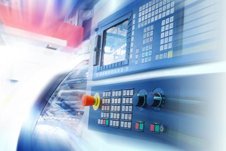 Photo for CNC machine control panel. Motion blur. - Royalty Free Image