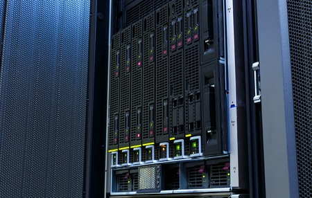 servers stack with hard drives in datacenter for backup and data storage