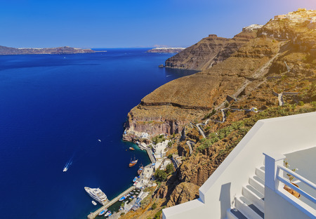 To get from Santorini old port to Fira you have two transfer options, cable car or donkey ride. Santorini classically Thera and officially Thira is an island in the southern Aegean Sea, Europe.