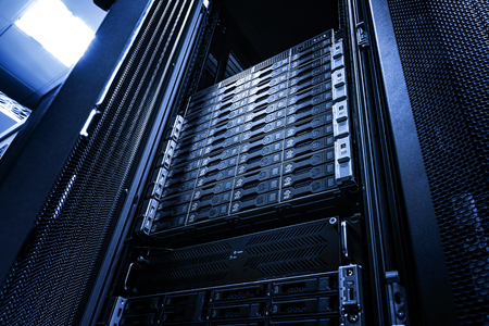 Photo pour Array disk storage in data center with depth of field in cool tone - image libre de droit