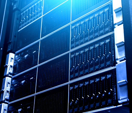 Photo pour Close up multiple system of modern cloud storage data equipment under blue light. Technological rack inside. Service for collecting, technology and distributing database across network - image libre de droit