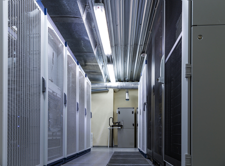 Photo pour Rack server hardware in big data center - image libre de droit