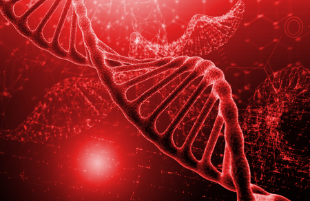 Photo for DNA molecule structure on red texture background. Biochemistry concept - Royalty Free Image