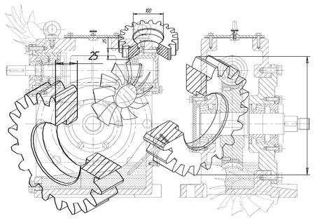 Illustration pour Drawings of cogwheels on a white  background - image libre de droit