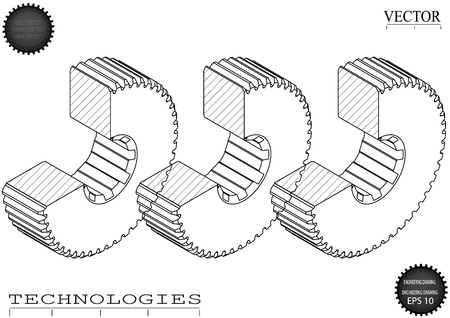 Drawings of cogwheels on a white  background