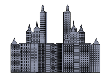 Illustration for Gray building in the white background - Royalty Free Image