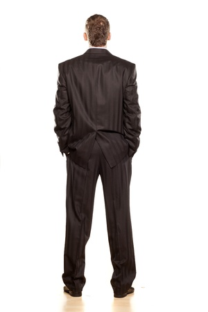 Businessman Rear View on White