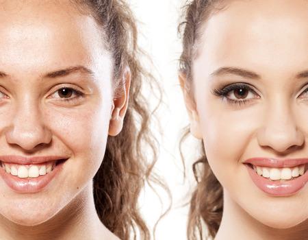 Photo pour Comparison portrait of a smiling woman without and with makeup - image libre de droit