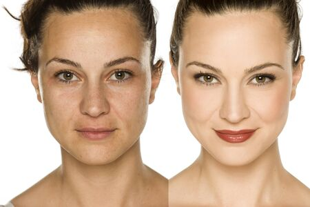Photo for Comparison portrait of woman without and with makeup. Makeover concept. - Royalty Free Image