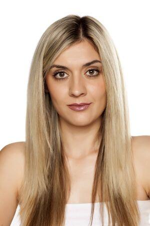 Photo pour Portrait of young beautiful woman on white background - image libre de droit