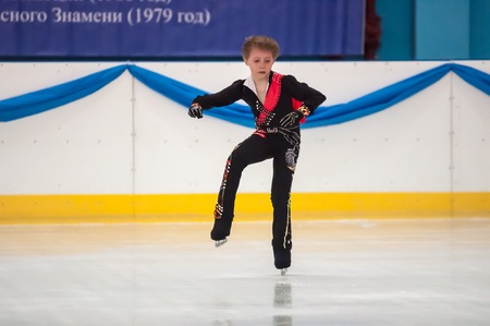 Orenburg, Southern Ural, Russia - 12.04.2015: Boy in figure skating at the tournament in memory of Chernomyrdin V. S.