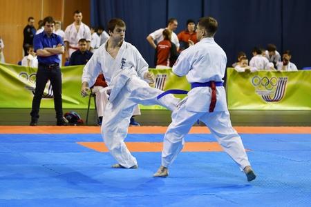 Orenburg, Russia - March 5, 2017 year: Boys compete in karate on Championship Orenburg region on kiokusinkaj Sinkekusinkaj