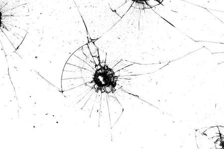 broken glass. black cracks on a white background