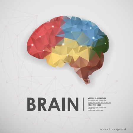 Illustration pour Abstract colored polygons of the human brain background. Vector illustration, icon - image libre de droit