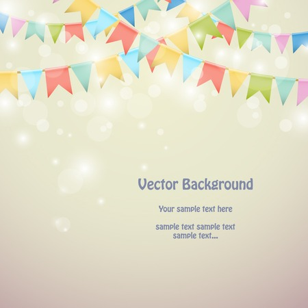 Illustration for Holiday background with colored bunting flags. Vector illustration - Royalty Free Image