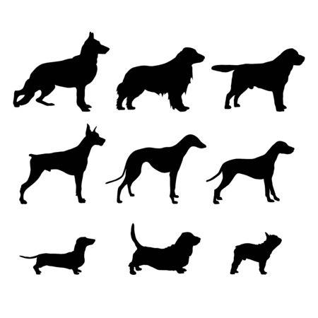Illustration pour Set Black Dog Silhouettes are standing. Vector - image libre de droit