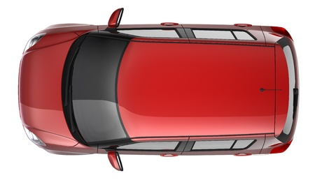 Red hatchback top view