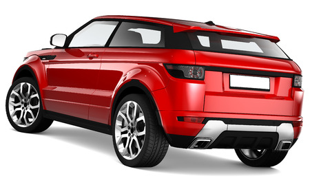 3D Red suv - rear view