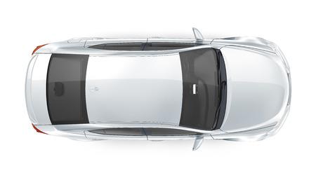 Photo pour Luxury silver sedan - top view - image libre de droit