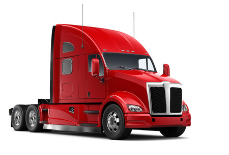 Photo for Isolated Red heavy truck - Royalty Free Image