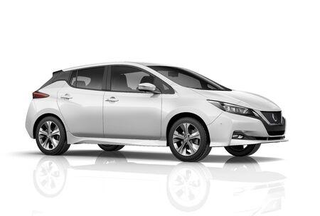 Photo pour Compact hatchback car on white background - image libre de droit