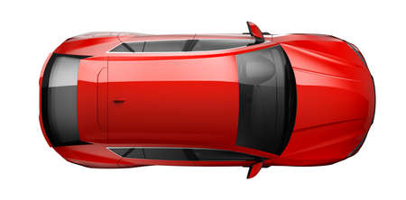 Photo for Red car on white - 3D render - Royalty Free Image