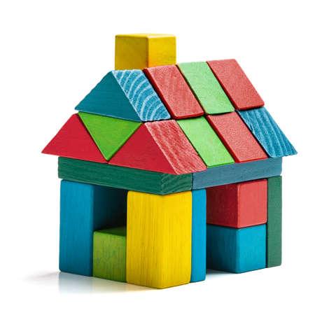 Foto de house toy blocks isolated white background, little wooden home - Imagen libre de derechos