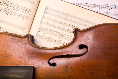 old violin on the lied notes