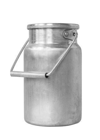 Foto de Aluminum milk canister on white isolated background close-up - Imagen libre de derechos