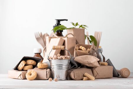 Photo for Zero waste concept, plastic free. Set of natural home or kitchen accessories. Caring for the environment. - Royalty Free Image