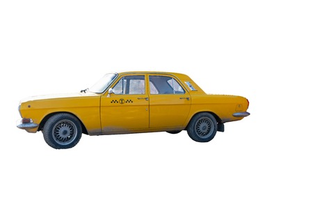 yellow taxi car on white background. chrome elements of the car body