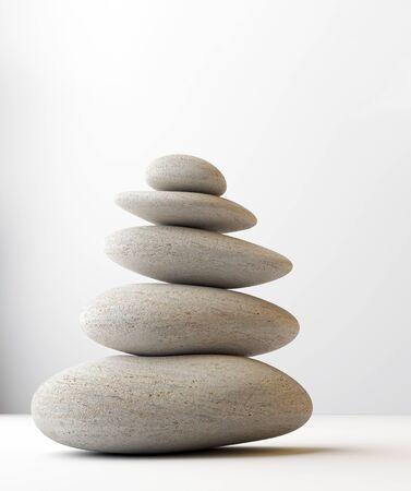 Photo for stack of white balanced zen spa stones isolated. white background. 3d illustraton - Royalty Free Image