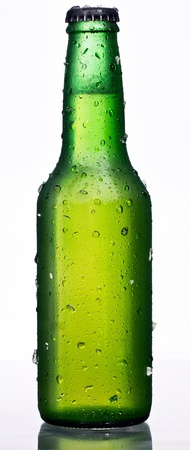 Green beer bottle, with condensation drops