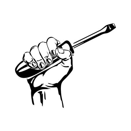 hand holding screwdriver illustration