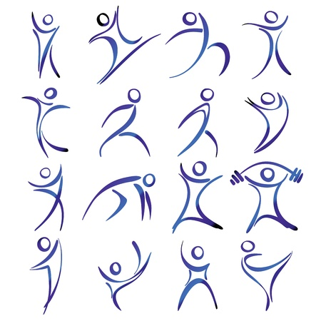 Illustration pour Abstract human figures in action icons collection illustration - image libre de droit