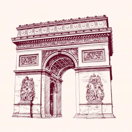Arch of Triumph, Paris. hand drawn  vector illustration