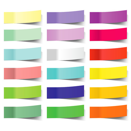 collection of colorful vector sticky notes, transparent shadows